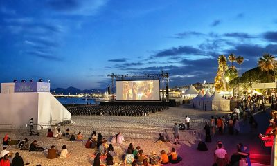 Screening of a film at the Cannes La Plage