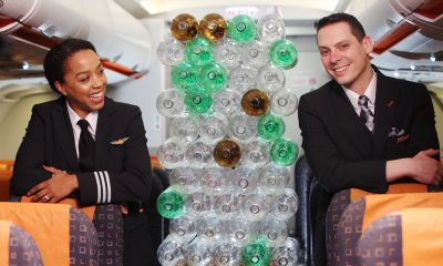 Easy jet cabin crew wearing a sustainable uniforn